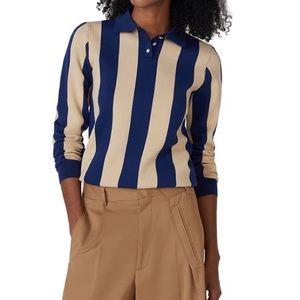 Alexa Chung striped long sleeve polo collared top